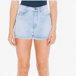 American Apparel high-waist frayed jean shorts